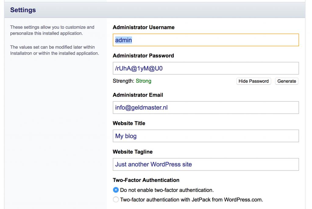 Gegevens voor het beheren van je WordPress website