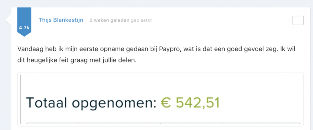 Thijs heeft ruim 500 euro verdiend en laten uitbetalen